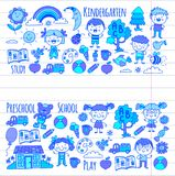 Imagination. Exploration. Study. Play. Learn. Kindergarten. Children. Kids drawing. Doodle icon. Illustration. Moon Royalty Free Stock Photo