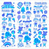 Imagination. Exploration. Study. Play. Learn. Kindergarten. Children. Kids drawing. Doodle icon. Illustration. Moon Royalty Free Stock Photos