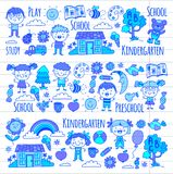 Imagination. Exploration. Study. Play. Learn. Kindergarten. Children. Kids drawing. Doodle icon. Illustration. Moon Royalty Free Stock Photography