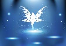 Imagination féerique de reine avec la lumière rougeoyante e lumineux de galaxie de particules illustration de vecteur