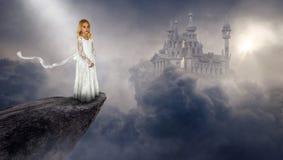 Imagination, Fantasy Castle, Girl, Peace stock illustration