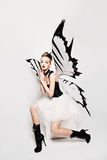 Imagination. Fashionable Woman Butterfly Royalty Free Stock Photo