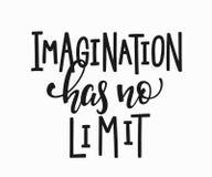 Imagination has no limit t-shirt quote lettering. Imagination has no limit quote lettering. Calligraphy inspiration graphic design typography element. Hand vector illustration