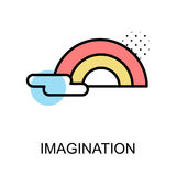 Imagination icon and rainbow on white background with illustrati. On design Royalty Free Stock Images