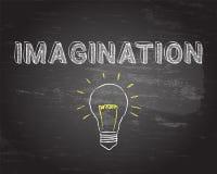 Imagination Light Bulb Blackboard. Hand drawn imagination sign and lightbulb on blackboard Royalty Free Stock Image