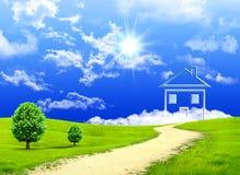 Imagination neuve de la maison sur un pré vert Photo stock