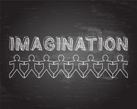 Imagination People Blackboard. Imagination text hand drawn with paper people on blackboard background Royalty Free Stock Photos