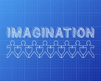 Imagination People Blueprint. Imagination text hand drawn with paper people on blueprint background Stock Photography