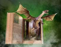 Imagination, Reading, Book, Story, Storybook. Storybook of imagination and fantasy. A book with an evil dragon provides a metaphor for reading and books Royalty Free Stock Image