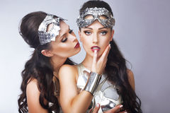 Imagination. Styled Women in Futuristic Silver Glasses Royalty Free Stock Images