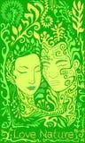 Imagination, surréaliste, forêt, visage de fille et type sur un fond de l Illustration Libre de Droits