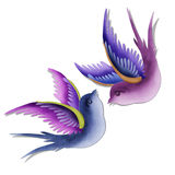 Imagination swallows created by paper craft. Royalty Free Stock Photography