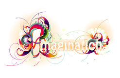 Imagination Text vector. Illustratior composition over a white background Royalty Free Stock Photo
