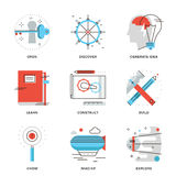 Imagination and thinking line icons set Stock Photography