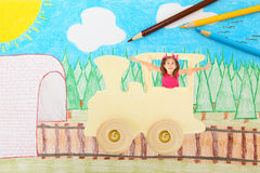 Imagination Transportation. Beaufiul 7 year old girl riding on a train through an imaginary country side.  Illustration and Photograph Royalty Free Stock Photos