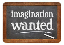 Imagination wanted blackboard sign Stock Images