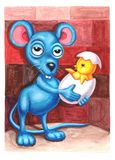 Imagination watercolor mouse holding chick. Imagination watercolor mouse holding cracked egg chick. fairytale blue mouse. Children illustration Stock Image