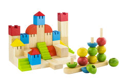 Imagination wooden blocks colorful toy isolated Stock Photo