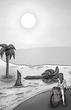 Imaginative beach scene. Draw of imaginative beach scene Royalty Free Stock Photo