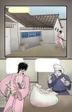 Imaginative scene comic illustration Stock Photo