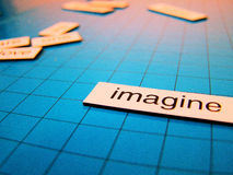 Imagine. The word imagine in magnetic words Stock Photo