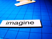 Imagine. The word imagine in magnetic words Stock Photos