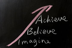 Imagine, believe and achieve. Conceptional chalk drawing Royalty Free Stock Images