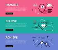 Imagine. Believe. Achieve. Web banners  set. Flat line web banners of goals achieving. Line human profile, heart symbol and mountain peak for websites and Stock Photos