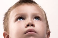 Imagine boy. Portrait of imagine blond boy Royalty Free Stock Photo