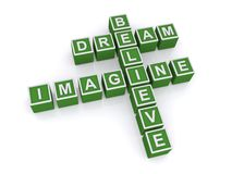 Imagine. A concept image with letter cubes forming a crossword with the words imagine dream and believe Stock Photography