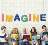 Imagine Creative Ideas Thinking Vision Dream Concept. Students Sitting Reading Books Concept Royalty Free Stock Image