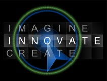 Imagine Innovate Create Vector Banner. With blue mouse on black background Royalty Free Stock Image