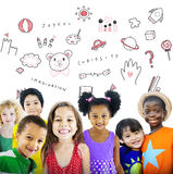 Imagine Kids Freedom Education Icon Conept. Diverse kids standing imagine kids freedom education icon royalty free stock images