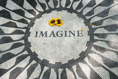The Imagine mosaic at Strawberry Fields in. The Imagine mosaic remembering John Lennon at Strawberry Fields in Central Park, New York City Stock Photo