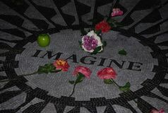 Imagine mosaic tribute to John Lennon in the Central Park. In New York, USA. A place very important for many music fans Royalty Free Stock Photos