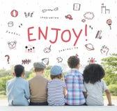 Imagine o conceito do ícone da educação da liberdade das crianças fotografia de stock royalty free