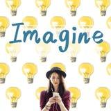Imagine o conceito grande do sonho da faculdade criadora da inspiração da visão imagem de stock