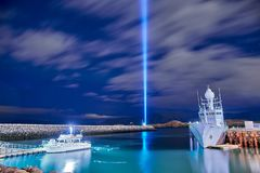 The Imagine Peace Tower. On Videy island in Reykjavik royalty free stock photos