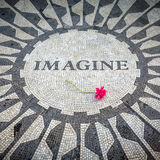 Imagine Sign in New York Central Park, John Lennon Memorial Stock Photos