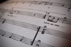 Imagine. A verse from an iconic song on sheet music Stock Images
