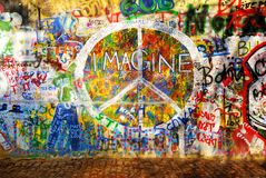 Imagine Wall. Imagine graffiti wall in Prague Stock Image