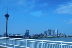 Macau tower skywalk royalty free stock photo