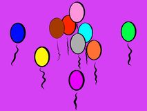 Purple Playful Colorful Balloons to Smile About stock illustration