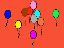 Red Playful Colorful Balloons to Smile About; It`s like Fire stock illustration