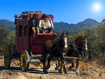 Fantasy illustration of a stagecoach traveling on a dusty trail under a hot desert sun. An imagined Western image of an old stagecoach pulled by 2 horses and stock photo
