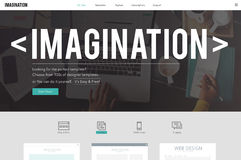 Imaginez l'imagination penser le concept rêveur d'idées originales Images libres de droits