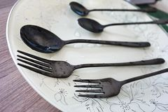 Beautiful set of tablespoons and forks royalty free stock images