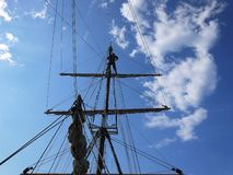 Wooden sailing ship is on the sea. Details and close-up. Sunny weather stock photos