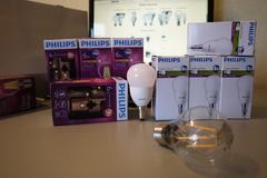 Incandescent lamps with Edison thread , details details stock photos
