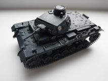 Model of plastic tank. Soviet and fascist tanks. Details and close-up. stock photo
